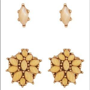 Lucky Brand Citrine Flower Stud Earrings Set NWT